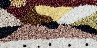 Mixed colorful grains Background image. Various kinds of grains, colorful image Royalty Free Stock Photos