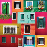 Mixed colorful Windows wall and Doors collection Royalty Free Stock Image
