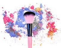 Mixed colors and blush make up cosmetic powder. Mixed colors and blush make up cosmetic powder stock image