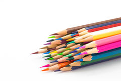 Mixed colour wooden pencil on white Stock Photography