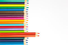 Mixed of colour wooden pencil on white background Royalty Free Stock Photos
