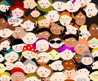 Mixed colourful crowd cartoon people. Multi ethnical crowd cartoon people vector illustration