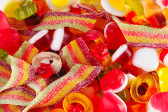 Mixed colourful fruit candies background. Close up of mixed colourful fruit candies Stock Photos