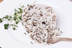 Mixed cooked rice with thyme on white plate Royalty Free Stock Photography