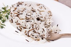 Mixed cooked rice with thyme on white plate Royalty Free Stock Photo