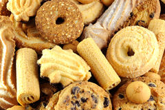 Mixed  cookies. Background of different biscuits mixed Stock Images