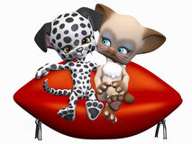 Mixed Couple. A sweet Dog and Cat on a date - sitting on a lip shaped love-seat sofa Stock Photos