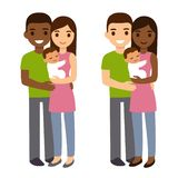 Mixed couple with baby stock illustration