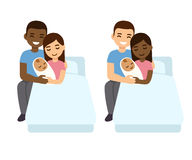 Mixed couples baby birth set Stock Photos