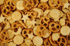 Mixed crackers background Royalty Free Stock Images