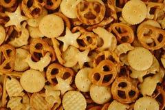 Mixed crackers background Stock Photos