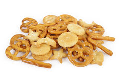 Mixed crackers on white Stock Image