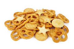 Mixed crackers. On white background Royalty Free Stock Images