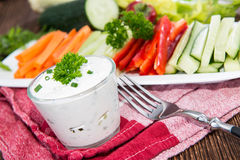 Mixed Crudites with Dip. Mixed Crudites (Celery, Cucumber, Carrot and Red Pepper) with Dip Royalty Free Stock Images