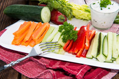 Mixed Crudites with Dip. Mixed Crudites (Celery, Cucumber, Carrot and Red Pepper) with Dip Royalty Free Stock Photo
