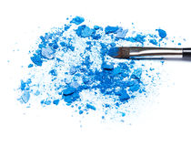 Mixed crushed compact blue eyeshadow different shades Stock Image