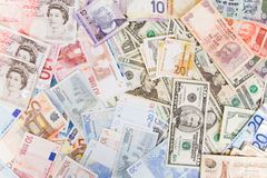 Mixed currency. Various currencies, including US dollars, euros, pounds sterling, and Indian rupees