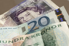 Mixed currency. Of Swedish Krona, Euro and sterling pound Stock Photo