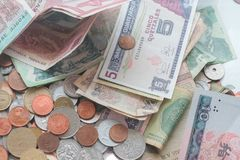 Mixed currency background Stock Photography