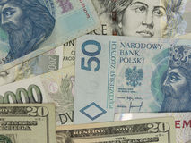 Mixed currency notes Stock Photography