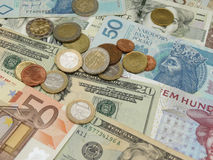 Mixed currency notes Stock Photos