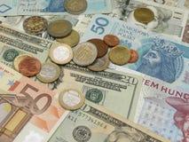 Mixed currency notes. USD, EUR, SEK, PLN, CZK Stock Photos