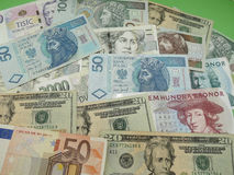 Mixed currency notes Stock Image