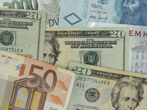 Mixed currency notes Stock Images
