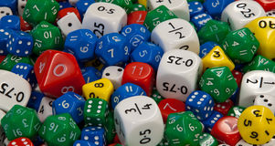 Mixed Dice. A pile of colourful mixed dice stock photo