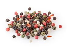 Mixed of diffrent kind peppercorns isolated on white. Background Stock Photography