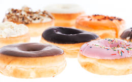 Mixed Donuts isolated on white Royalty Free Stock Image