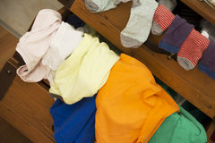 Mixed Dress Drawer. With T-shirts and Socks Royalty Free Stock Images