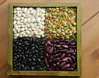 Mixed dried beans. Multicolored mixed dried beans in the box Royalty Free Stock Images