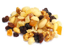 Mixed dried fruit and nuts Royalty Free Stock Photo