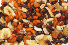 Mixed dried fruit and nuts. Close up of mixed dried fruit and nuts Stock Photo