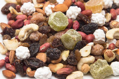 Mixed dried fruit, nuts and seeds, healthy raisins Royalty Free Stock Images
