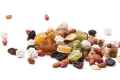 Mixed dried fruit, nuts and seeds, raisins Stock Image