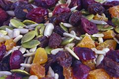 Mixed dried fruit and seeds. Close-up of pile of mixed dried fruit and seeds Royalty Free Stock Photography