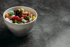 The mixed dried fruits in a bowl royalty free stock photography
