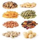 Mixed dried fruits isolated on white Royalty Free Stock Images
