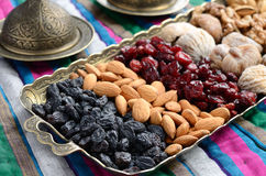 Mixed dried fruits and nuts in oriental style Royalty Free Stock Photo