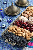 Mixed dried fruits and nuts in oriental style Royalty Free Stock Image