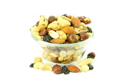 Mixed dried fruits nuts  trail mix in white background Royalty Free Stock Image