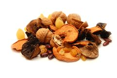 Mixed Dried Fruits On White Background Royalty Free Stock Photos