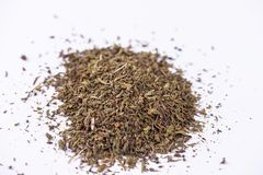Mixed dried herbs. Mixed dried herbs on white background Royalty Free Stock Images
