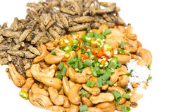 Mixed dried nuts and fried insects and salt and chilli is thai o Royalty Free Stock Images