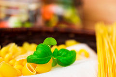 Mixed dried pasta selection with basil,Italian food Royalty Free Stock Photos