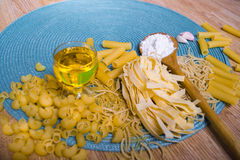 Mixed dried pasta selection Royalty Free Stock Images