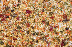 Mixed dried vegetables and spices. Dried vegetables and spices arranged as a background Stock Photos