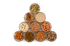 Mixed dry fruits in glas bowl Stock Photo
